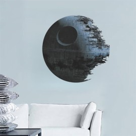 Death Star Artwork Star Wars Wall Sticker Removable Water Resistant PVC Wallpaper for Home Decoration Dark Gray