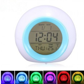 7-Color LED Glowing Change Temperature Sound Digital Alarm Clock White
