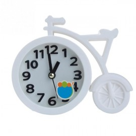 Creative Bicycle Style Mute Alarm Clock Home Table Office Decor Clock White