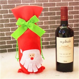 Christmas Bowknot Wine Bottle Cover Bag Dinner Party Decoration Santa Claus Pattern Red