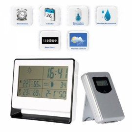 Multi-functional RF Receiving Weather Station Clock Digital Indoor Outdoor Thermometer Hygrometer Calendar Silver White