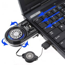 Mini Vacuum Blue LED USB Air Extracting Cooling Fan for Laptop Black