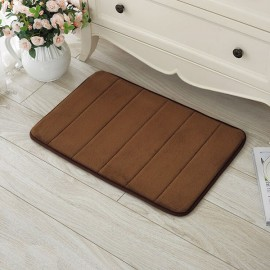 40 x 60cm Coral Velvet Memory Foam Rug Bathroom Mat Soft Non-slip Floor Carpet Coffee