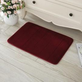40 x 60cm Coral Velvet Memory Foam Rug Bathroom Mat Soft Non-slip Floor Carpet Wine Red