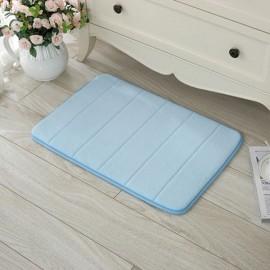 40 x 60cm Coral Velvet Memory Foam Rug Bathroom Mat Soft Non-slip Floor Carpet Light Blue