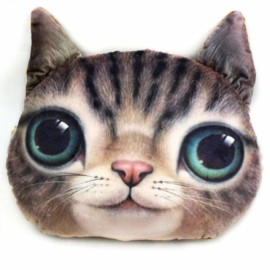 Individual Creative 3D Cat Style Throw Pillow Sofa Bed Cushion Brown