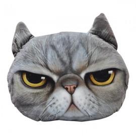 28 x 22cm Plush Creative 3D Anger Cat Throw Pillow Sofa Car Seat Cushion Light Gray