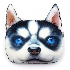 28 x 22cm Plush Creative 3D Dog Face Husky Style Throw Pillow Sofa Car Seat Cushion with Backstrap