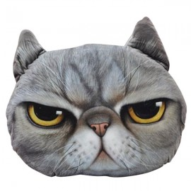 38 x 30cm Plush Creative 3D Anger Cat Throw Pillow Sofa Car Seat Cushion Light Gray