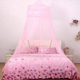 Elegant Classical Romantic Sweet Princess Students Outdoor Hang Dome Mosquito Net Round Lace Anti-insert Curtain Pink