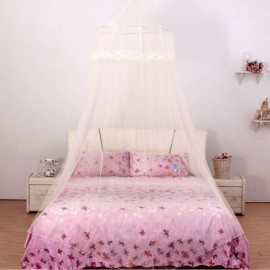 Elegant Classical Romantic Sweet Princess Students Outdoor Hang Dome Mosquito Net Round Lace Anti-insert Curtain Yellow