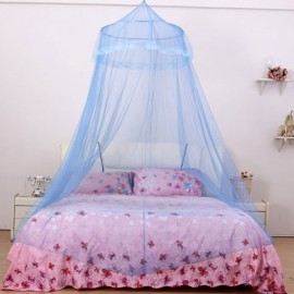 Elegant Classical Romantic Sweet Princess Students Outdoor Hang Dome Mosquito Net Round Lace Anti-insert Curtain Blue