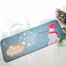 Christmas Flannel Velvet Memory Foam Rug Absorbent Bathroom Mat Non-slip Soft Floor Carpet 40x120cm Christmas Snowman Pattern