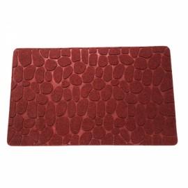 78 x 38 x 1cm Absorbent Non-slip Cobblestone Pattern Bathroom Mat Dark Red