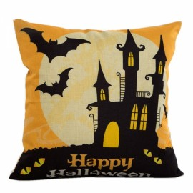 Happy Halloween Linen Square Burlap Decorative Throw Pillow Case Cushion Cover #2