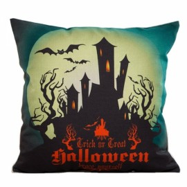 Happy Halloween Linen Square Burlap Decorative Throw Pillow Case Cushion Cover #3