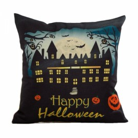 Happy Halloween Linen Square Burlap Decorative Throw Pillow Case Cushion Cover #4