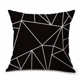 Simple Geometric Designs Cotton Linen Decorative Throw Pillow Cover 45x45cm - Pattern A