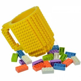 Creative DIY Puzzle Block Toy Brick Mug Coffee Cup Yellow (350ml)