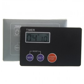 Ultrathin Credit Card Sized Digital LCD Kitchen Buzzer Timer with Magnetic Mount Black
