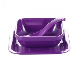 Colorful Melamine Square Dessert Bowl Dish Spoon 3-Piece Set Purple