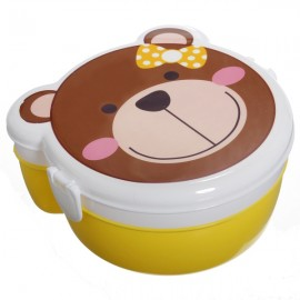 Microwaveable Cute Brown Bear Pattern Two Layers Cartoon Plastic Lunch Meal Bento Food Box with Spoon Colorful
