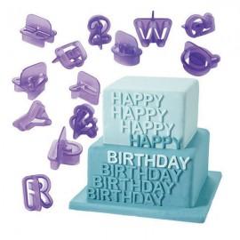 40pcs Plastic Alphabet Letter Cake Biscuit Baking Molds Purple