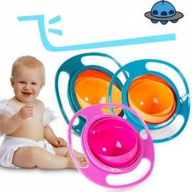 Creative Fantastic UFO Gyroscope Style 360-Degree Rotation Never-Spill-Food Kids Bowl Rose Red