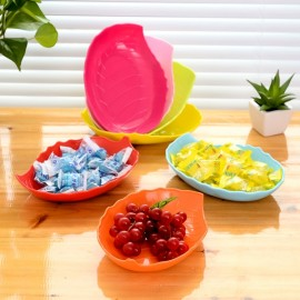 Creative Leaf Shaped Candy Dish Fruit Plate Plastic Tray Dried Fruit Snack Tray Random Color