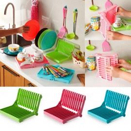 Plastic Foldable Dish Plate Drying Rack Organizer Holder Drainer Kitchen Storage Random Color