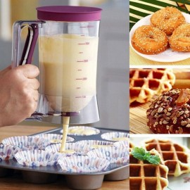 900mL Capacity Cake Batter Dispenser with Scale Mark for Cupcakes Muffins Transparent & Purple