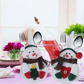Christmas Snowman Style Tree Pattern Cutlery Tableware Holder Dinner Party Decor
