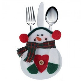 Christmas Snowman Style Heart Pattern Cutlery Tableware Holder Dinner Party Decor