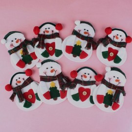 5pcs Christmas Snowman Style Heart Pattern Cutlery Tableware Holder Dinner Party Decor