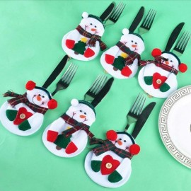 5pcs Christmas Snowman Style Tree Pattern Cutlery Tableware Holders Dinner Party Decor