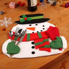 Christmas Snowman Pattern Dinning Placemat Table Mat Dinner Decoration with Napkin White