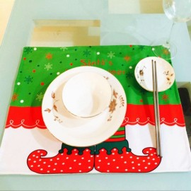Christmas Elf Pattern Non-woven Fabric Printing Pattern Food Placemat Green & Red