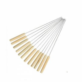 12pcs BBQ Skewer Wooden Handle Stainless Steel Roast Needle Stick