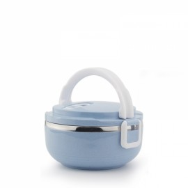 Portable 1 Layer 700mL Lunch Box Stainless Steel Thermal Bento Box Food Container Light Blue