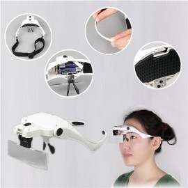 1X / 1.5X / 2.0X / 2.5X / 3.5X 2-LED Wearable Magnifier Glasses White