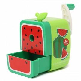 Cute Watermelon Pattern Rotary Hand Crank Manual Pencil Sharpener School Stationery Green
