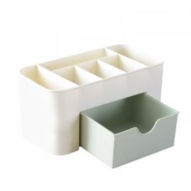 Multifunction Plastic Storage Box Jewelry Cosmetics Container Makeup Tool Office Desktop Organizer Case Storage Box Green