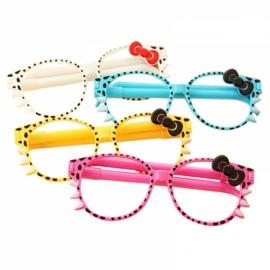 4 Pcs / Pack Promotional Pen Fashion Frame Cute Kittens Creative Cartoon Ballpoint Pen Glasses Random Color