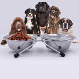 11cm Dog Cat Two Stainless Steel Round Shape Bowls with Non-slip Stand Pet Feeder Suppllies Silver S