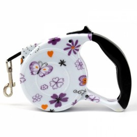 5m Automatic Retractable Dog Leash Pet Traction Rope Chain Harness Withstand 35kg Pulling Force Colorful Flowers