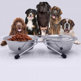 21cm Dog Cat Two Stainless Steel Round Shape Bowls with Non-slip Stand Pet Feeder Suppllies Silver M