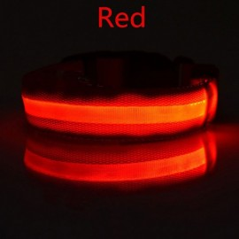 Nylon LED Pet Dog Collar Night Safety LED Flashing Glow Dog Cat Collar with CR2032 Battery Red L