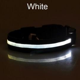 Nylon LED Pet Dog Collar Night Safety LED Flashing Glow Dog Cat Collar with CR2032 Battery White L