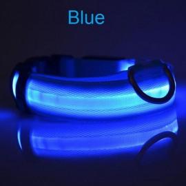 Nylon LED Pet Dog Collar Night Safety LED Flashing Glow Dog Cat Collar with CR2032 Battery Blue L