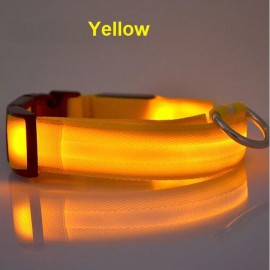 Nylon LED Pet Dog Collar Night Safety LED Flashing Glow Dog Cat Collar with CR2032 Battery Yellow XL